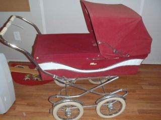 Vintage 1970 ' S Peg Perego Pram Carriage & Stroller Combo Italy Red/marroon photo
