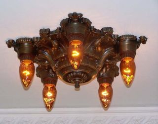 (( (bronze)) ) C.  20 ' S Art Nouveau Polychrome Ceiling Lamp Light 1 Of 2 Pair photo