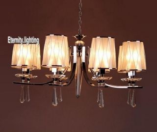 8 Light Metal Clear Crystal Hanging Chandelier With White And Silver Lampshade photo