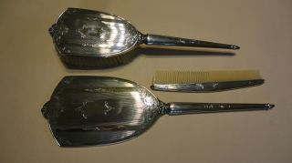 Vintage Embossed Sterling Silver Hallmarked Brush,  Mirror &comb Set - photo