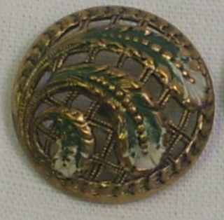 Antique French Pierced Enamel Domed Button - Green & White Plumes - Basket Weave photo