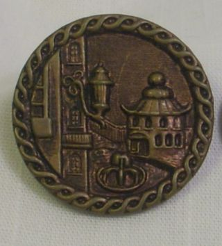 Antique Embossed Brass Two Piece Shank Button - Pagoda & Fountain - City Plaza photo