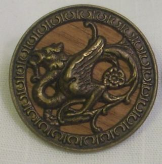 Antique Embossed Brass Two Piece Shank Button - Dragon W/rose On Wood Backing photo