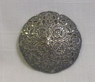Antique Silver Gilt Brass Pierced/filigree Shank Button - 1 5/8