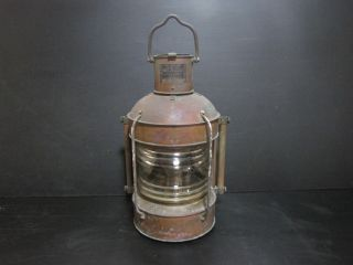 Japanese Military Ship Oil Lamp In Ww Ii Age,  Antique Marine Lamp Made Of Copper photo