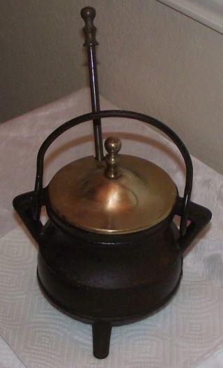 Antique Heavy Thick Cast Iron Pot Brass Lid Handle Fireplace Starter Cauldron photo