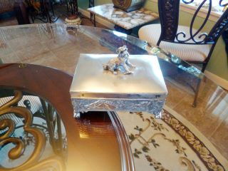 Antique Tufts Silver Plated Humidor Box Aesthetic Dog Domed Lid Claw Feet Ec Nr photo