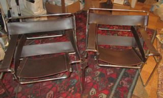 Vintage Marcel Breuer Wassily Leather And Chrome Chairs Matching Set photo