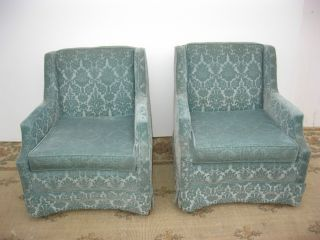 Pair Twohollywood Regency Floral Baby Blue Velvet Accent Arm Chairs Mid Century photo