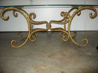 Vintage Italian Gold Gilt Tole Iron X Base Hollywood Regency Coffee Table Base photo