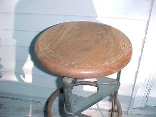 Vintage Industrial Age Drafting Table Stool - Depenable Mfg.  Wood Oak Top Stool - Old photo