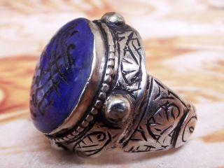 Antique Antique Islamic Ethnic Middle Eastern Lapis Lazuli Ring Jewelry Sz 10 Us photo