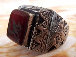 Antique Islamic Ethnic Middle Eastern Red Agate Aqeeq Ring Jewelry Carnelian Sz photo