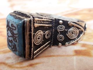 Antique Islamic Ethnic Middle Eastern Turquoise Ring Jewelry Near East photo