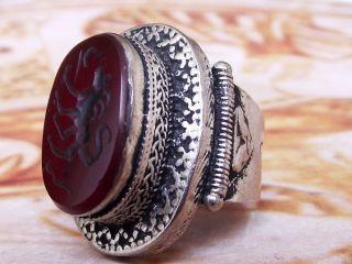 Afgani Islamic Ethnic Middle Eastern Red Agate Akik Ring Aqeeq Carnelian photo