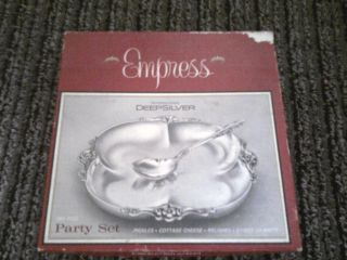 Vtg Empress Deep Silver 2 Pc Party Set,  Solid Silver photo