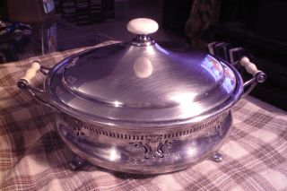Vintage Meriden B Co.  Silverplate/celluloid Handles Casserole Dish Service Rare photo