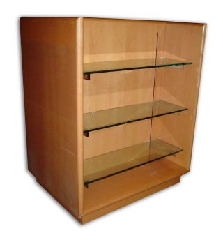 Wooden Double Display Case With Three Glass Shelves photo