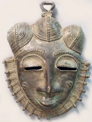 Baule Bronze African Metal Lost Wax Method Ndoma Cote I ' Voire Mini Mask Ethnix photo