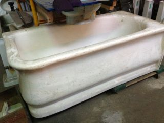 Antique Earthenware Skirt Tub With Crazed Porcelain Glaze photo