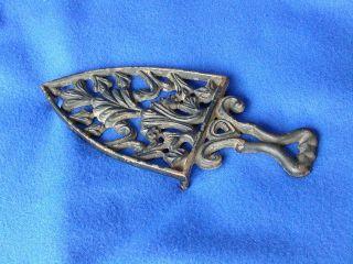 Antique Virginia Metals Cast Iron Trivet - Art Nouveau Design Iron Stand photo