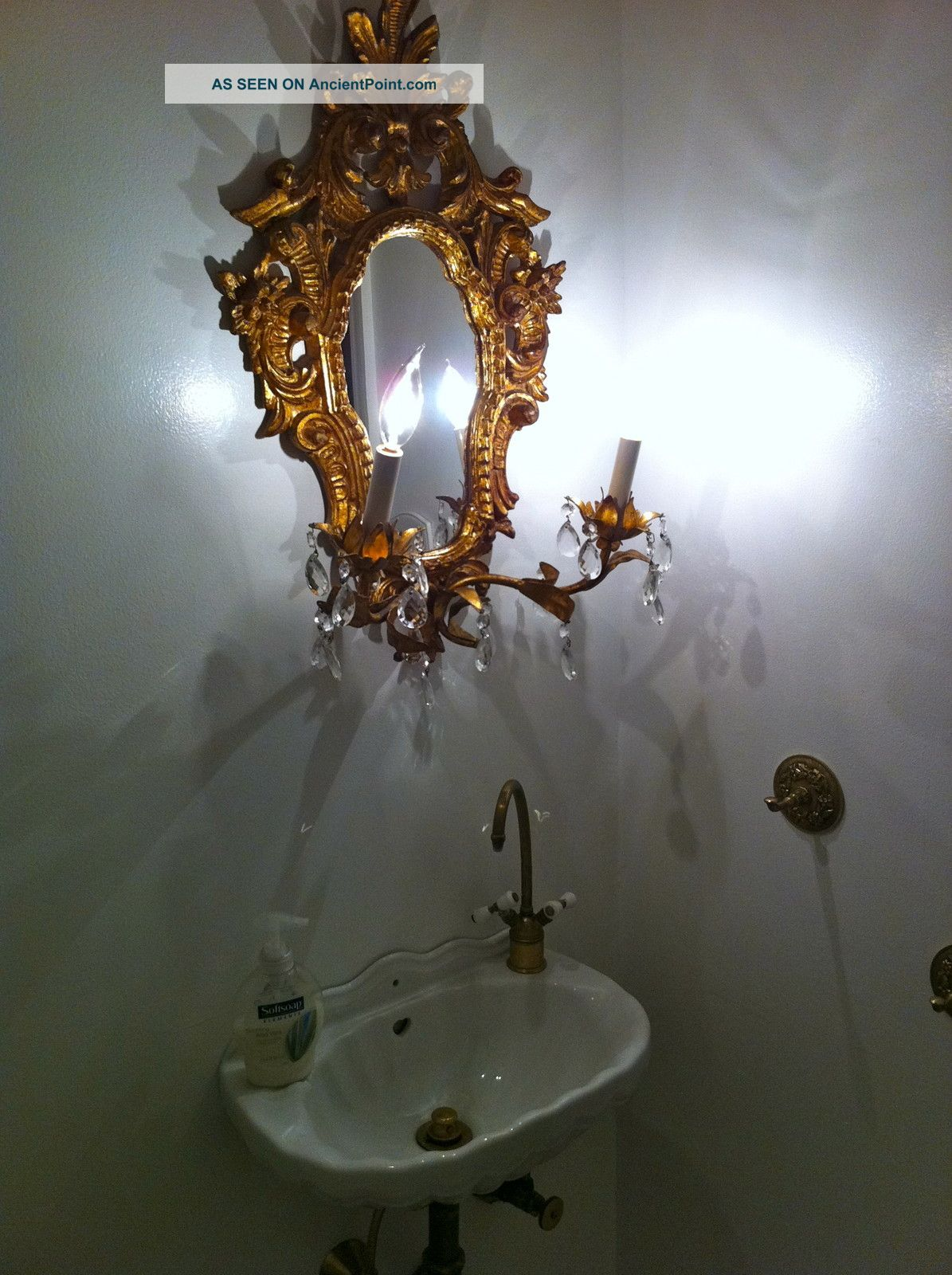 Delicate Ornate Rococco Sink With Gilded Lighted Mirror - - One Of A Kind Liberace Sinks photo