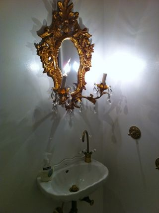 Delicate Ornate Rococco Sink With Gilded Lighted Mirror - - One Of A Kind Liberace photo