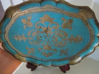 Stunning Wooden Tray/blue With Gold.  Made In Florence Italy. photo