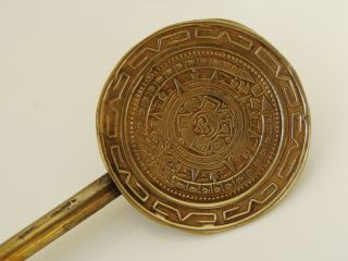Antique Mistic Sterling Silver Straw Cocktail Spoon Mayan Aztec Calendar Design photo