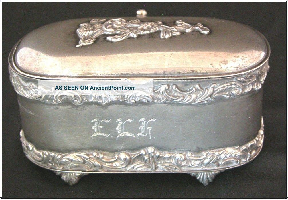 Antique Van Bergh Casket,  Quad Plate Trinket Box.  'elk' Monogram Baskets photo
