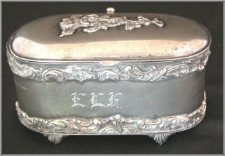 Antique Van Bergh Casket,  Quad Plate Trinket Box.  'elk' Monogram photo