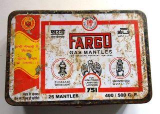 Old Vintage Fargo Gas Mantles Ad Litho Tin Box,  India photo