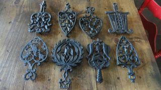 Of 8 Antique Vintage Cast Iron Metal Black Trivets From Ny City Estate Sale photo