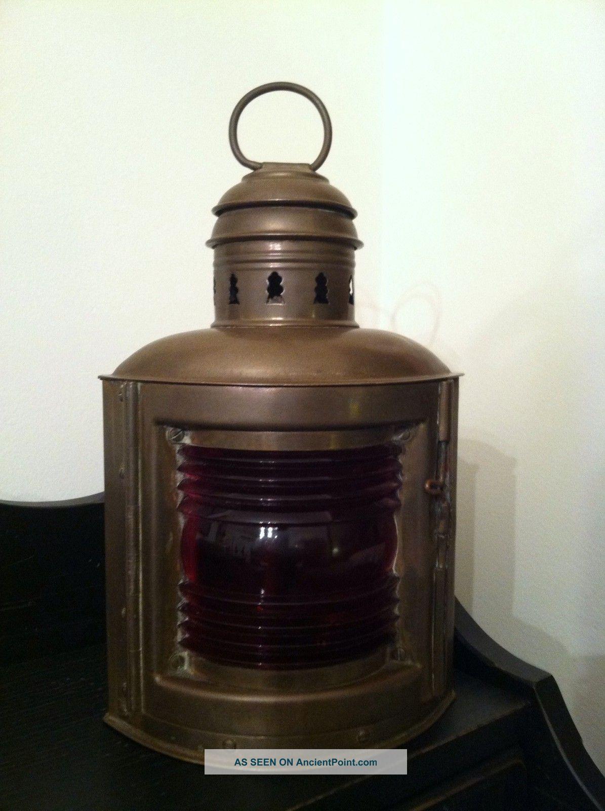 lantern antique nautical brass ship lamp boat red navigation 1. Black Bedroom Furniture Sets. Home Design Ideas