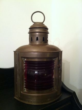 Vintage Brass Ship Lantern Antique Nautical Brass Ship Lamp Boat Red Navigation photo