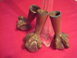 Of 3 Antique Brass Claw And Ball Feet Table Stool Piano Legs photo