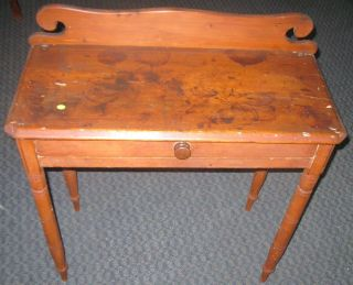 Primitive Pine Or Maple Hall Table Vanity Side Drawer Antique New England photo