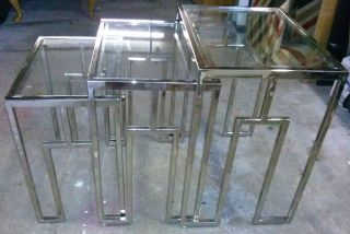 Chrome Mid Century Art Deco Industrial Nesting Tables Hollywood Regency photo