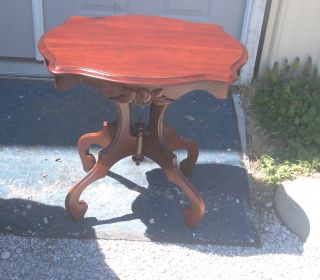 Mahogany Rose Carved Lamp Table/side Table (t215) photo