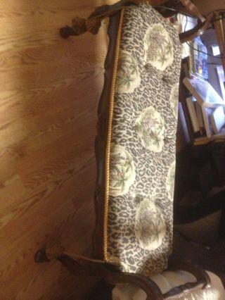 Italian Baroque Style Walnut Bench C 1900 Antique photo