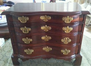 Stunning Mahogany Miniature Antique High Boy Chest Of Drawers photo