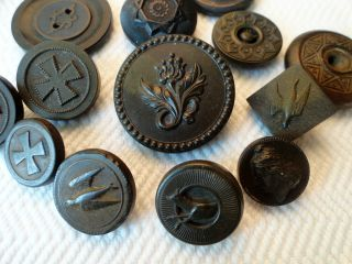 13 Civil War Era Antique Buttons - Birds,  Dogs,  Floral Figural 1851 Goodyear photo