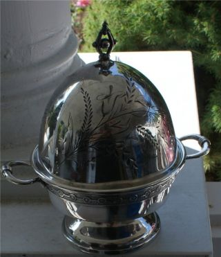 Gorgeous Domed Vintage Silverplate Butter Dish 4 Piece photo