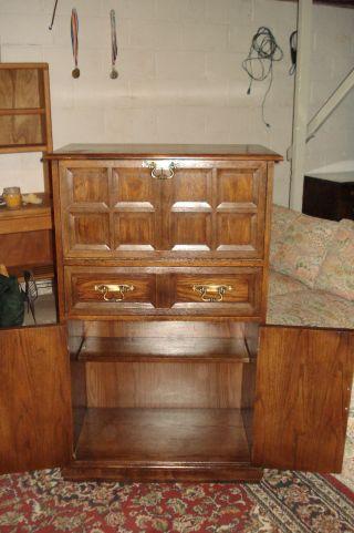Lane Liquor Cabinet Bar With Lock Key Light Inside Vintage Mid Century Furniture photo