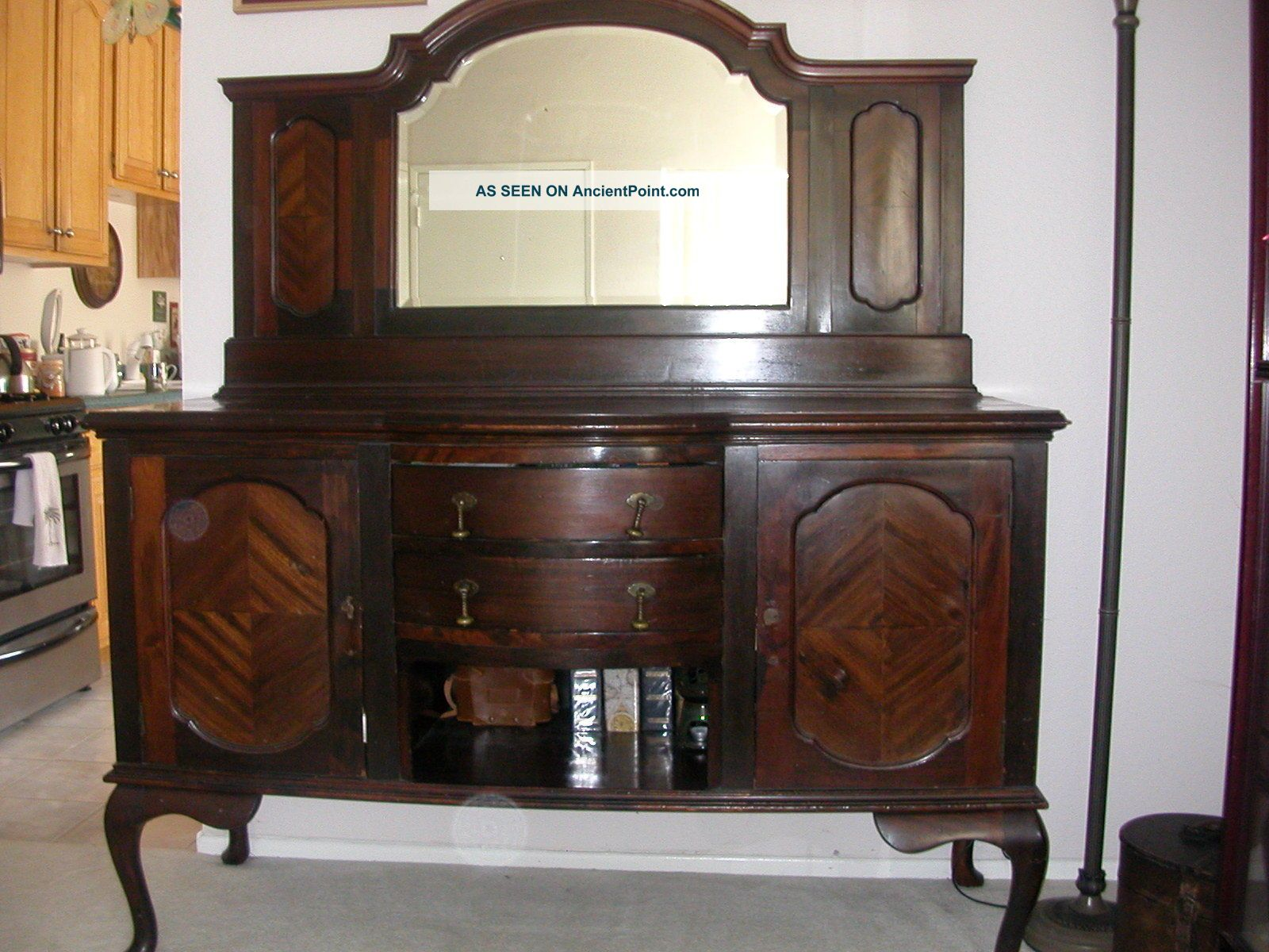 Antique Queen Anne Old English Buffet Side Board Cabinet W/ Beveled Mirror 1800-1899 photo