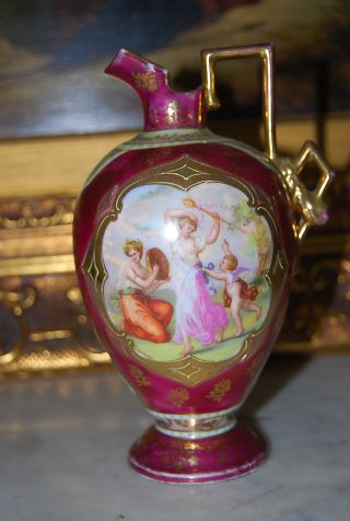 Magnificent Royal Vienna Beehive Jug Vase In Burgundy With Neoclassical Scenes photo