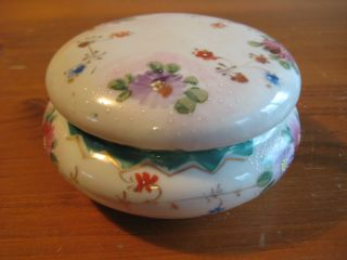 Antique Lidded Trinket Box.  Hand - Painted Floral,  Gilding And Moriage Decoration. photo