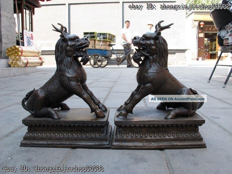 China Bronze Foo Dog Lion Classic Palace Door Ward Off Evil Dragon Kirin Pair Reproductions photo