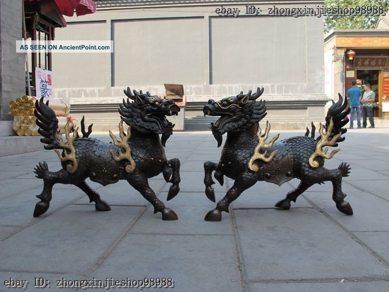 China Pure Bronze Foo Dog Dragon Lion Fire Kylin Lucky Statue Pair Reproductions photo