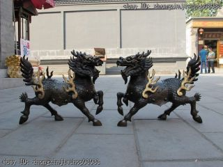 China Pure Bronze Foo Dog Dragon Lion Fire Kylin Lucky Statue Pair photo
